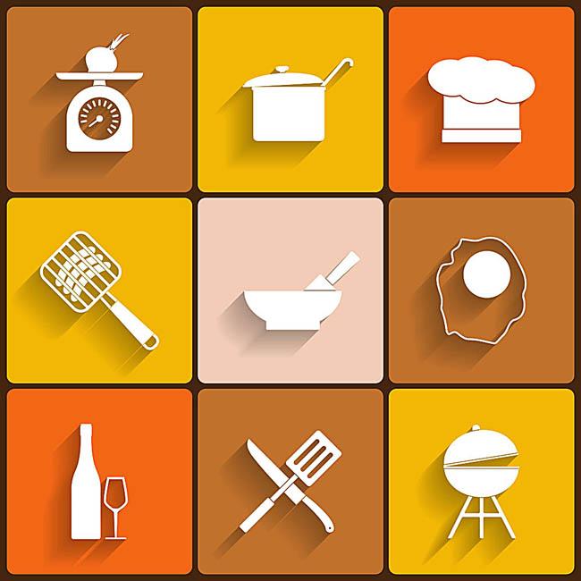 刀叉  酒  酒杯  汤锅  厨房工具设计 扁平化图标  矢量图设计
