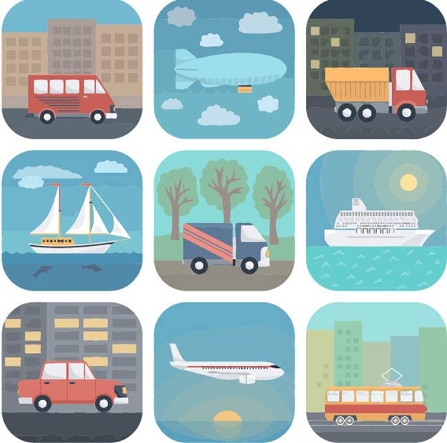 各种扁平化交通工具图标设计素材   扁平化飞机 车辆  大巴车 轮船