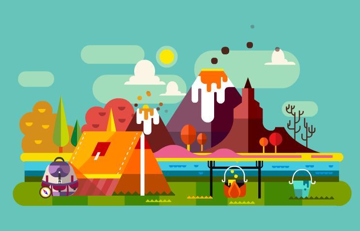 火山户外露营扁平化动画短片flash素材  扁平化旅游 露营  帐篷