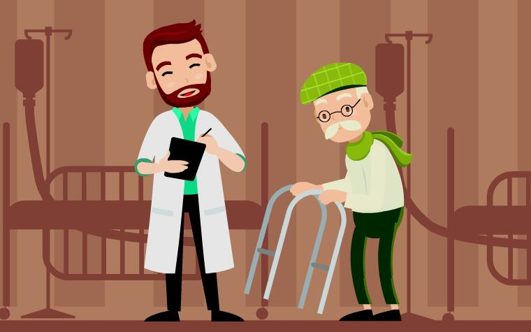 短片素材  扁平化医生  生病老人 就诊老人  mg动画flash动画短片素材