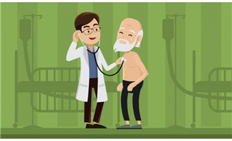 医生正在给老人就诊的f