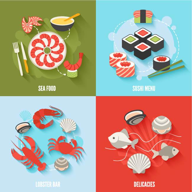 食物扁平化图标设计矢量素材下载