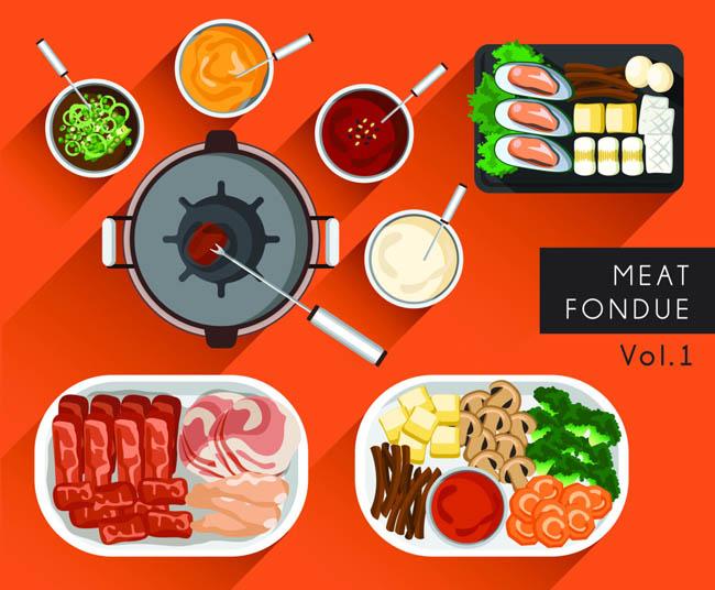 烤肉美食手绘扁平矢量  扁平化食谱素材  食物  餐厅食物 食品素材