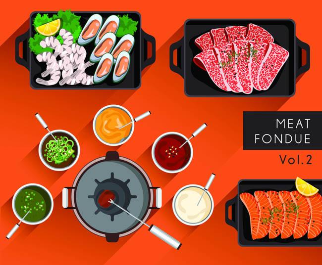 扁平化餐饮肉类烧烤手绘设计