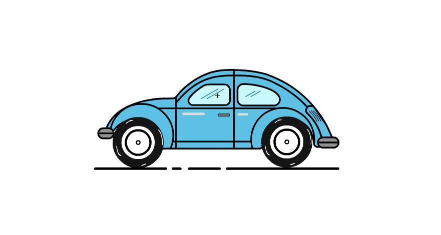 扁平化描边风格小汽车flash动画短片素材