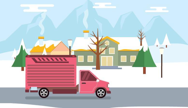 冬季雪地房屋建筑场景flash扁平化mg动画短片素材