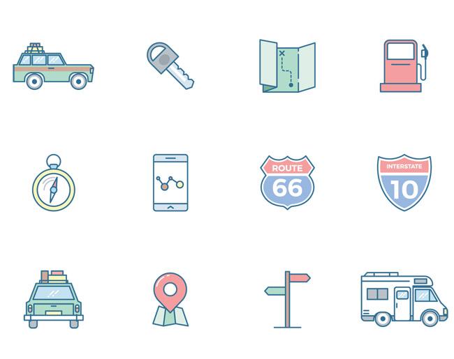 矢量旅行图标集合免费下载   汽车  钥匙  地图  指南针  手机  汽