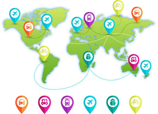地图与定位导航图标设计矢量图素材