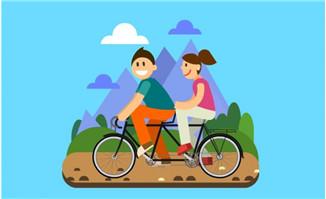 男女朋友骑自行车Flash扁平