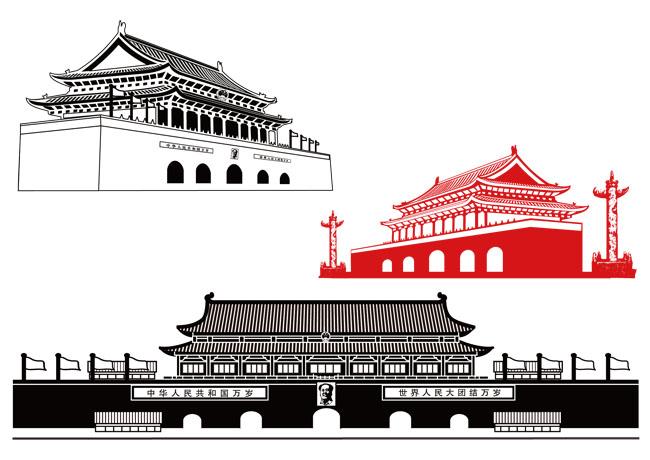 矢量图线条风格天安门国庆设计素材