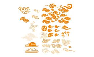 花纹矢量图中国古典祥云矢量图 中国古典边框矢