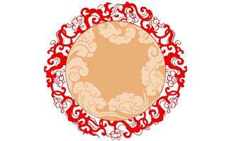中国风圆形祥云装饰图案