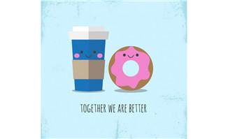 扁平化可爱咖啡和甜甜圈