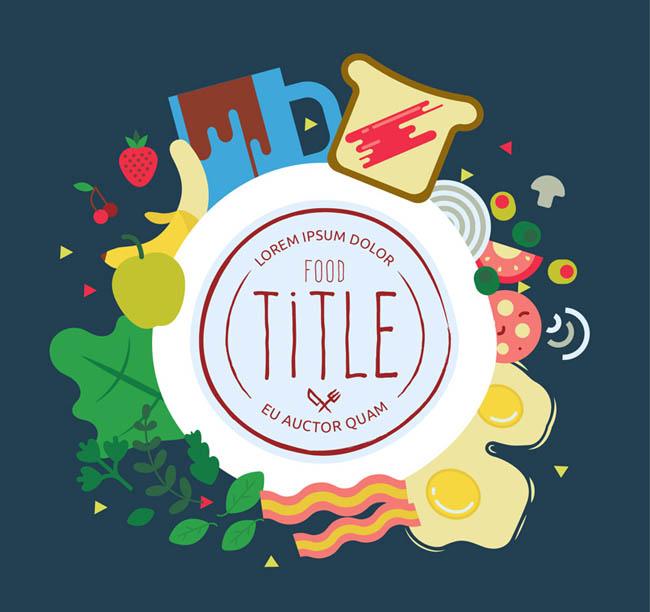 美味食物装饰圆形标签矢量图   扁平化食物   矢量图食品设计