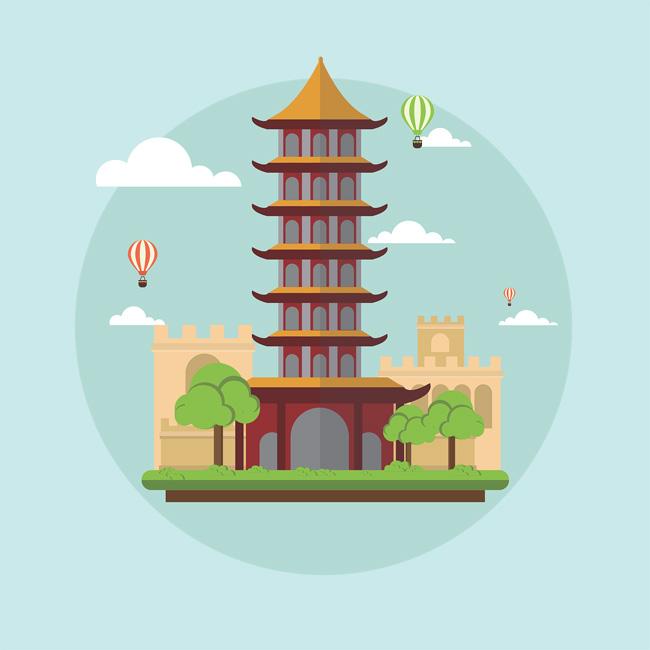 扁平化设计中国古塔建筑矢量图_flash二维动画素材mg.