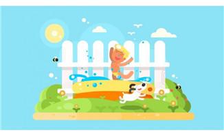 扁平化小孩与小狗一起玩