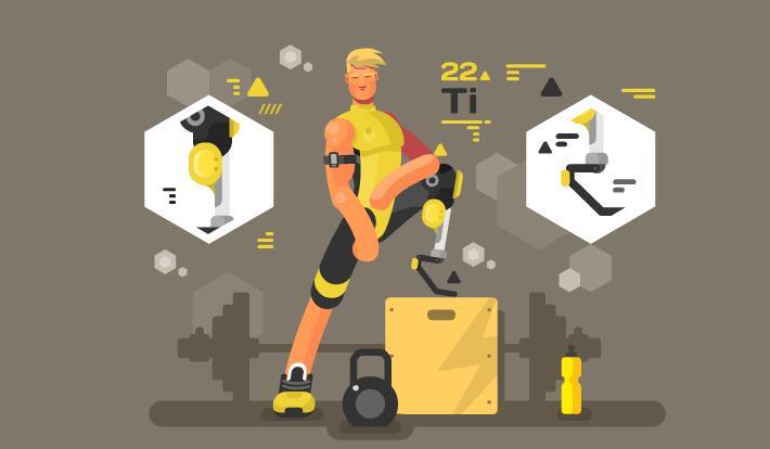 残疾运动在健身房运动的场景扁平化短片素材下