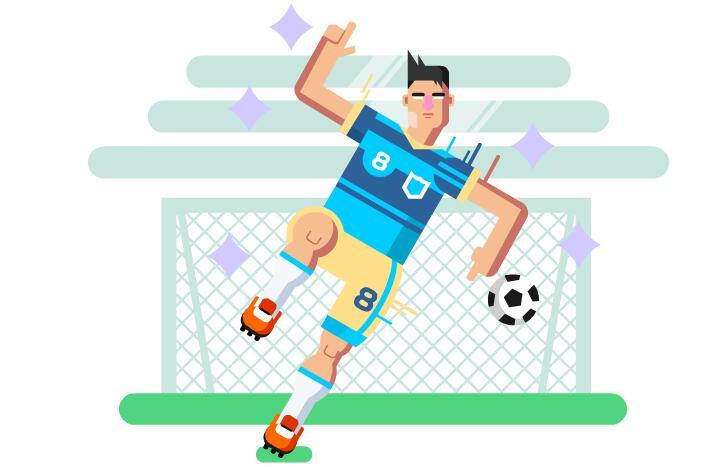 足球守门员场景人物扁平化动画短片素材下载
