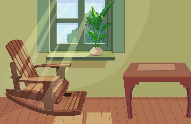 窗外阳光照进室内摇椅场景flash动画制作素材