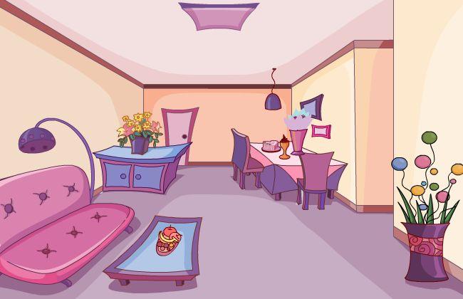 温馨的客厅场景设计flash动画二维场景素材