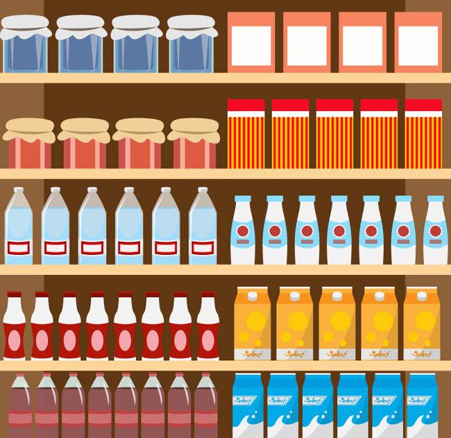乳制品与饮品货架矢量素材下载