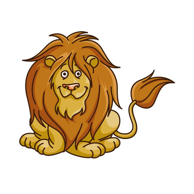 狮子动漫卡通形象设计矢量图素材