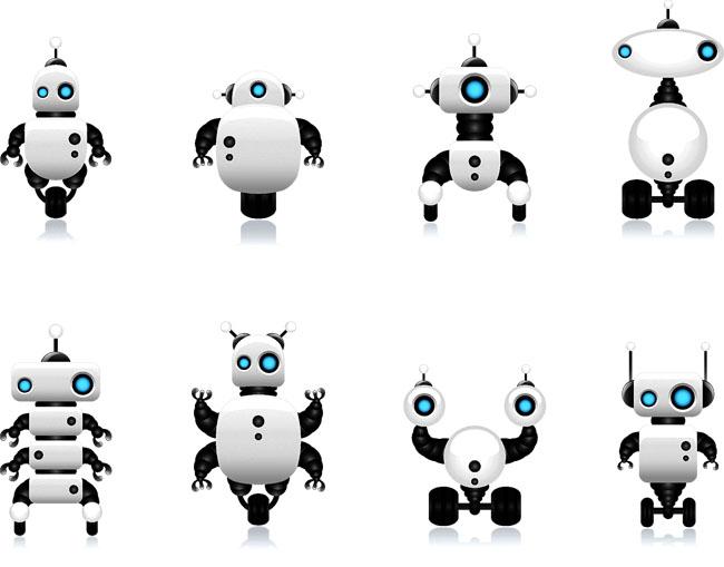 各款智能机器人设计矢量图元素下载