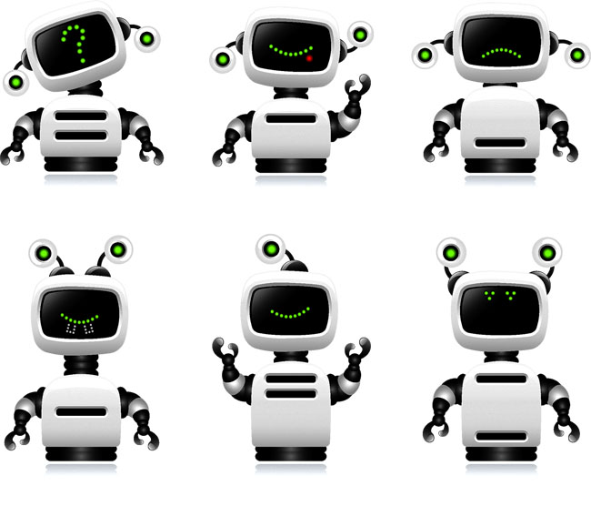 智能机器人各种动作表情矢量素材下载