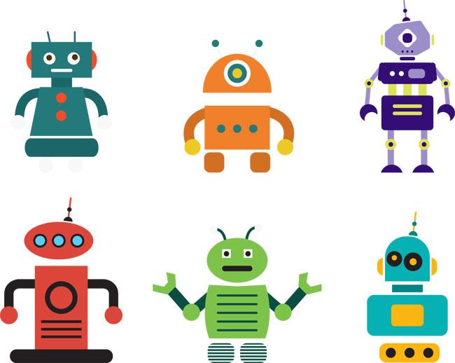 扁平化智能机器人设计素材矢量图