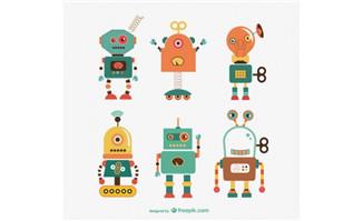 扁平化机器人设计素材矢量卡通形象_flash二维动画mg.
