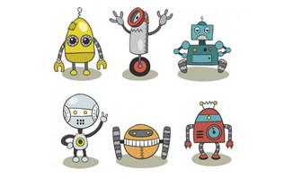 手绘风格机器人设计矢量