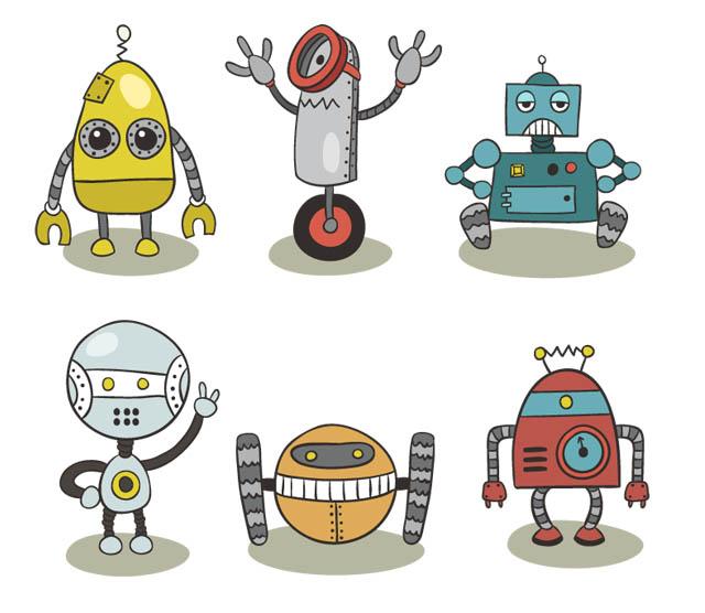 手繪風格機器人設計矢量素材下載