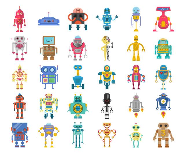 多款机器人扁平化风格设计素材矢量图片下载    玩具  男孩  铁皮