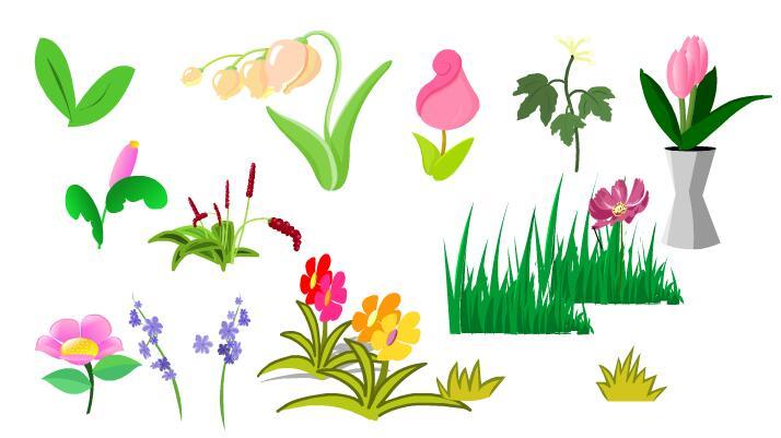 各种花卉植物道具素材flash动画制作素材下载图片