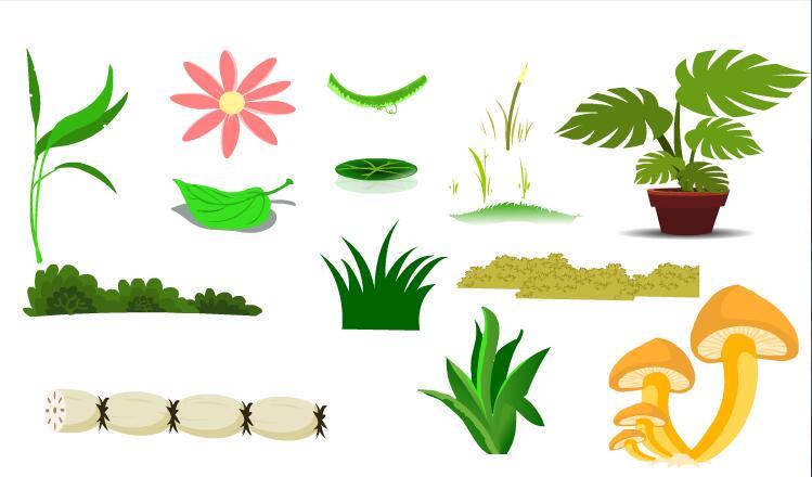 莲藕蘑菇各种草丛植物素材flash动画道具素材下载图片