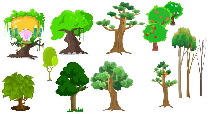各种树木植物二维动画制作道具素材下载_flash二维mg.