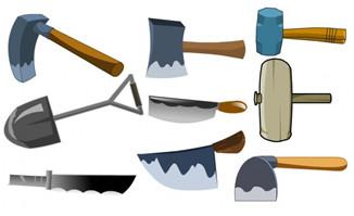 各种农耕工具锄头铁钳f