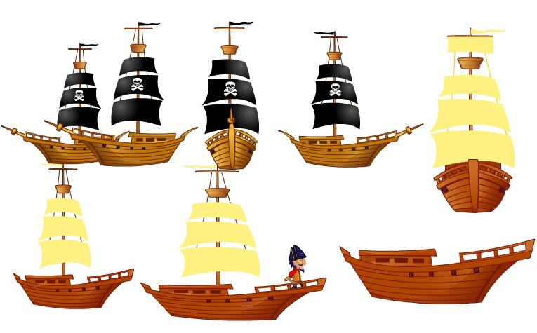 各种木制结构船海盗船flash动画制作道具素材