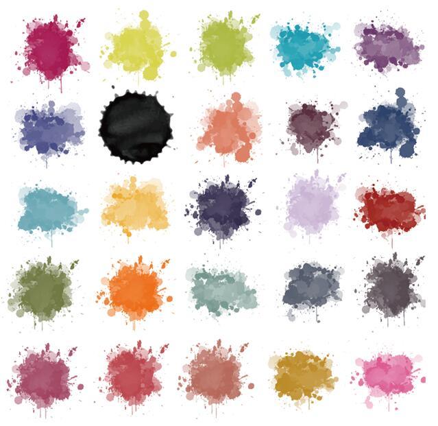 多款彩色圆形泼墨矢量图素材下载