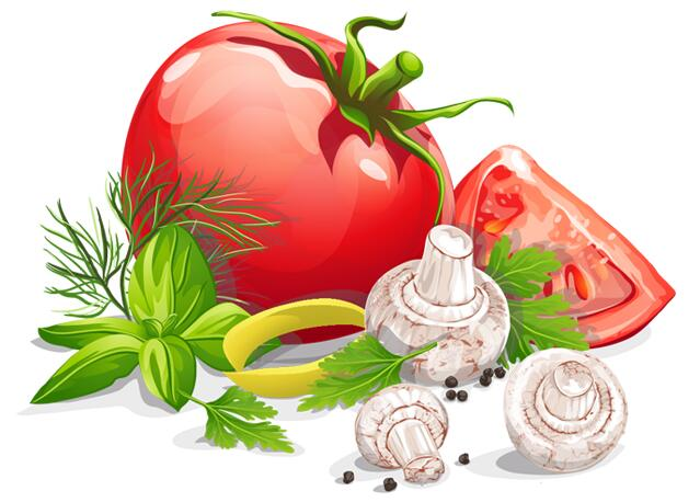 手绘矢量图西红柿香菇蔬菜素材下载