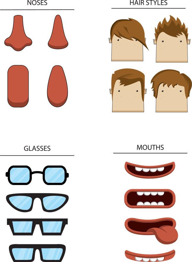 矢量素材 矢量人物 > 人物不同脸型鼻子嘴巴发型表情矢量图  热门素材