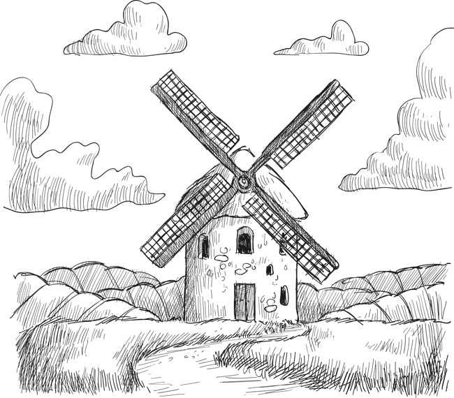 手绘线条风格田园大风车庄园场景设计矢量素材