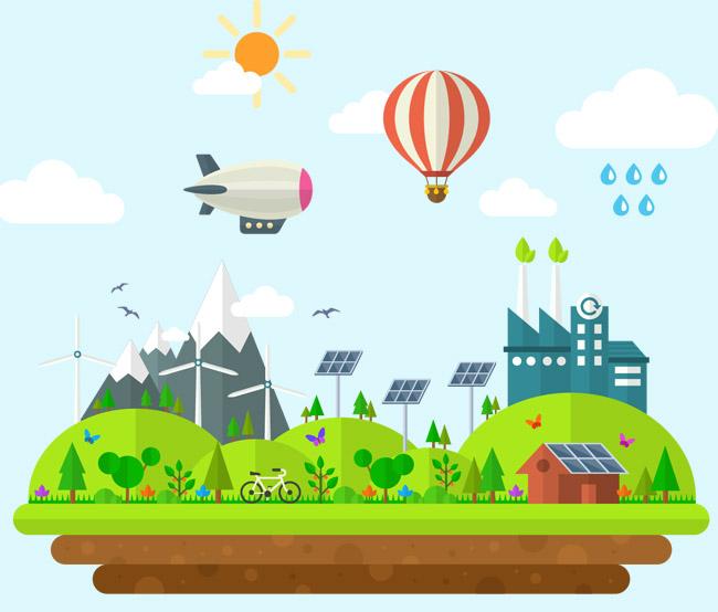 太阳能  太阳  风力发电  自行车  天空  扁平化场景素材矢量图