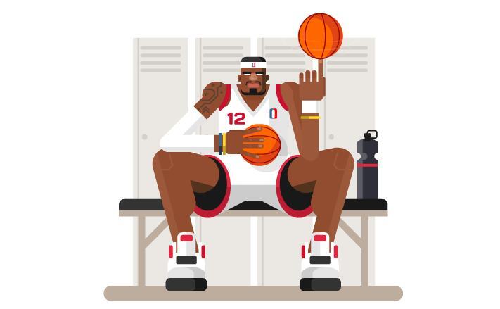 nba篮球运动员玩球转动扁平化动画短片素材下载