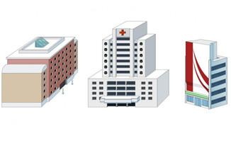 医院教学楼侧面办公楼建