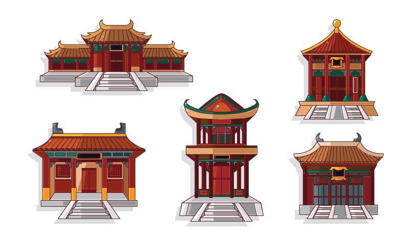 二维建筑房屋中国风古建筑风格场景素材下载