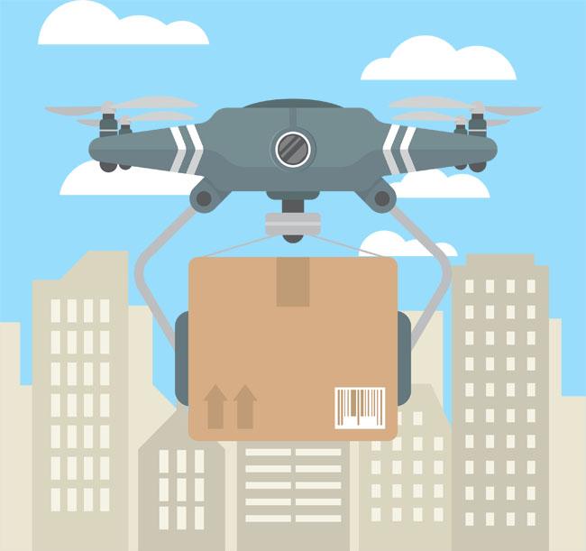 扁平化无人机送快递机器人智能科技矢量图素材