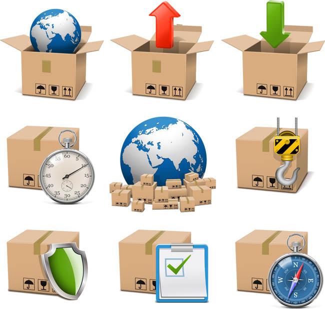各种物流包装快递图标设计矢量图素材