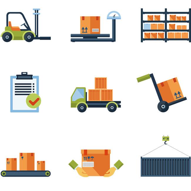 矢量图素材下载    物流运输发货元素免费下载   快递  物流  仓库