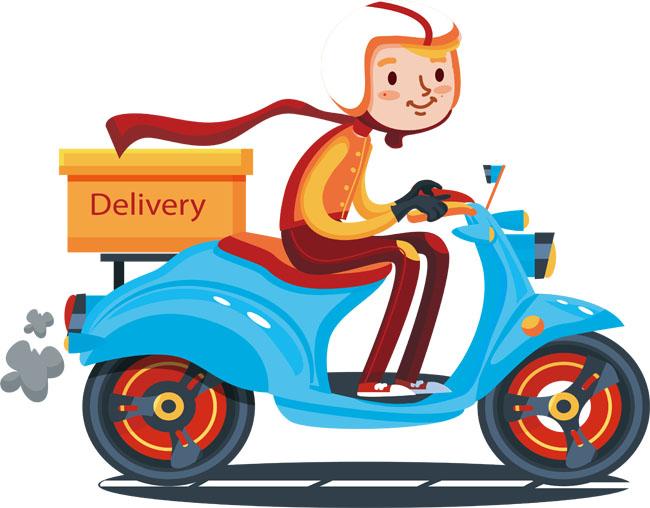 骑电动车送外卖的小哥人物矢量图素材下载